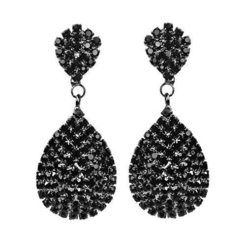 - Les Bohémiens Clip-On and Pierced Rhinestone Crystals Gold Silver Black or Ombre Teardrop Dangle Earrings Statement Chandelier Long Drop Earrings for Women (Black Pierced)