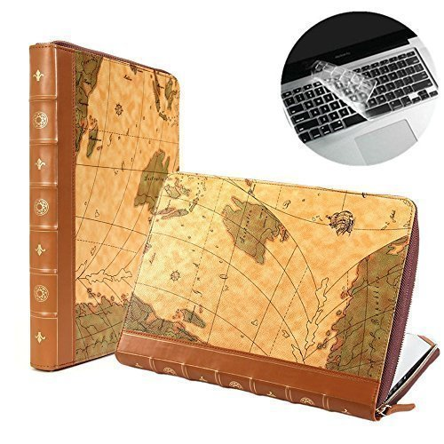 Map Leather Case (Se7enline Brown Map Pattern PU Leather Book Case for 13 inch MacBook Air Model A1369 / A1466 Classic Vintage Premium Quality Laptop Zipped Sleeve Carrying Cover with Transparent Keyboard Cover)