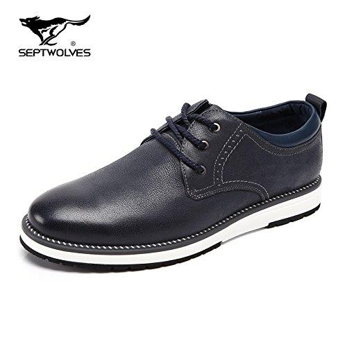 Scarpe Aemember uomini del primo strato di autunno popolare scarpe scarpe uomo testa rotonda cinturino Scarpe Casual uomini e ,43, blu