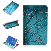Galaxy Tab4 8.0 T330 Case, XinSop Plum Blossom Premiun PU Leather Painted Flip Stand Cover Kickstand Card Slots Wallet Tablet Case for Samsung Galaxy Tab4 8.0-Inch SM-T330 SM-T331 SM-T335