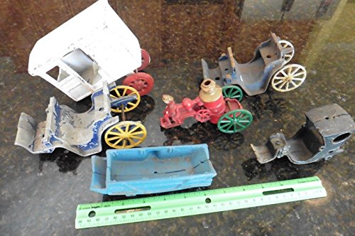 Lot of Vintage Cast iron Diecast Parts horse drawn buggy Milk Stanley toy fire + - Vintage Cast Iron Toy