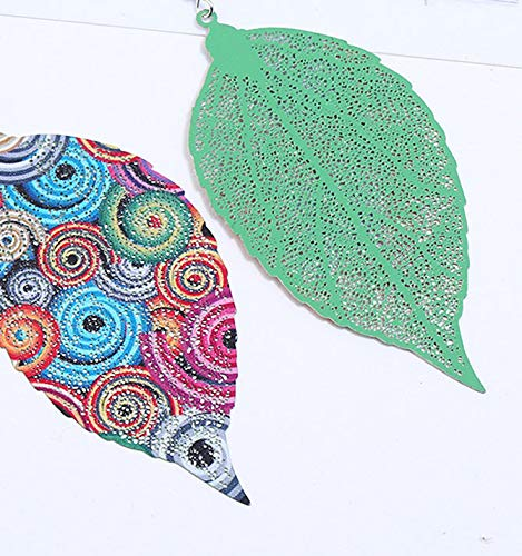 Multicolor Printing Large Leaf Clip on Earrings non Pierced Ears Drop Dangle Girls Prom Statement