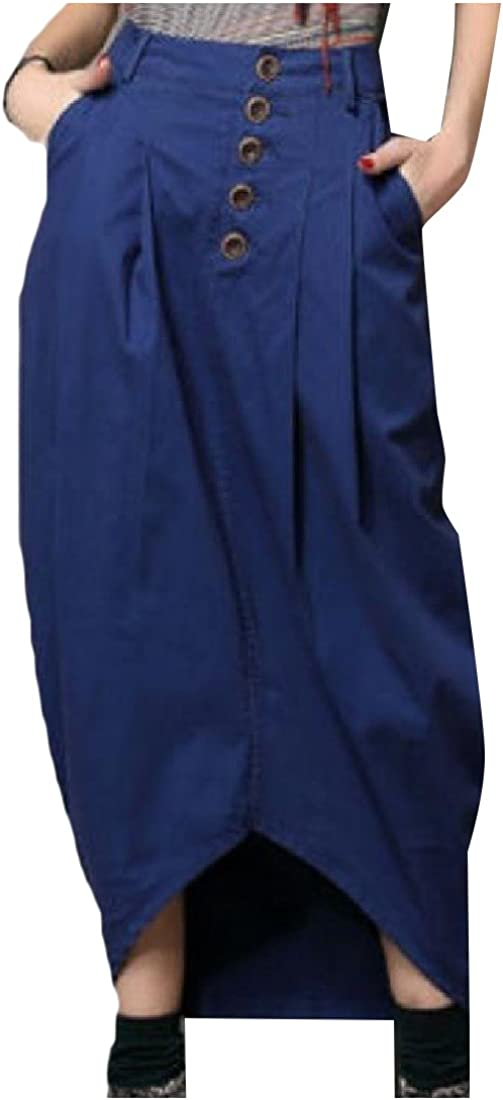 SportsX Women Solid Color Swallowtail Buttoned Wild Below the Knee Skirt