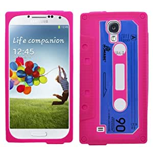 Samrick - Carcasa para Samsung Galaxy S4 i9500, i9505 y i9505G (con protector de pantalla, gamuza de microfibra y mini lápiz capacitivo blanco edición Google Play, silicona), diseño de cinta de cassette, color rosa