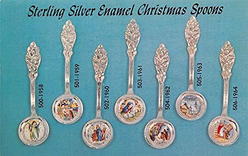 Advertising Post Card Sterling Silver Enamel Christmas Spoons Albert H Oechsle, Jefferson City, MO USA Unused