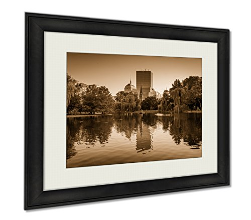 Ashley Framed Prints The Lake At The Boston Public Garden And Buildings At Copley Square In Boston, Wall Art Home Decoration, Sepia, 26x30 (frame size), - At Copley Shops