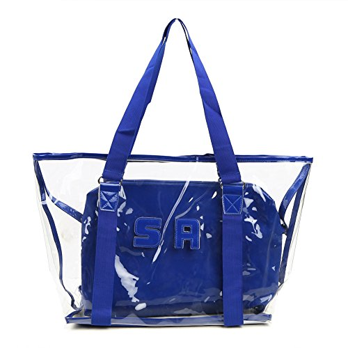 Zicac Women's Summer Beach Clear Shoulder Handbag Transparent Tote with One Insert Bag (Blue) by Zicac