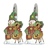 Sammy Snowman Sleighbells Bathroom Shower Curtain Decorative Hooks - Set of 12