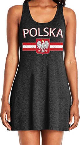 (Amdesco Ladies Polska Poland Flag and Polish White Eagle Casual Racerback Tank Dress, Black)