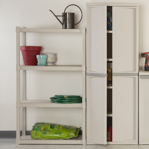 Sterilite 01648501 4-Shelf Unit with Light Platinum Shelves and Legs