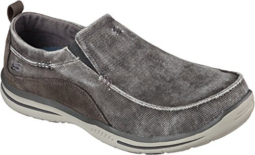 Skechers Men's Relaxed Fit Elected-Drigo Loafer, Charcoal Canvas, 11.5 3E-Extra Wide (Sneakers Canvas Skechers)