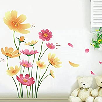 ROOMMATES RMKSCS Small Gerber Daisies Peel  Stick Wall Decals - Yellow wall decals