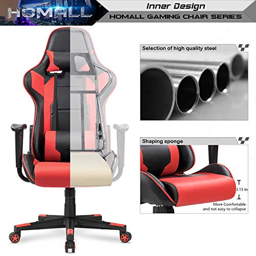 Homall Gaming Chair Racing Style High-Back Faux Leather Office Chair Computer Desk Chair Executive and Ergonomic Style Swivel Chair with Headrest and Lumbar Support(Red) by Homall (Image #3)