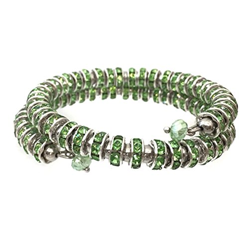 (Gypsy Jewels Rhinestone Snake Wrap Unique Prom Pageant Bling Bracelet - Assorted Colors (Light Green Silver Tone))