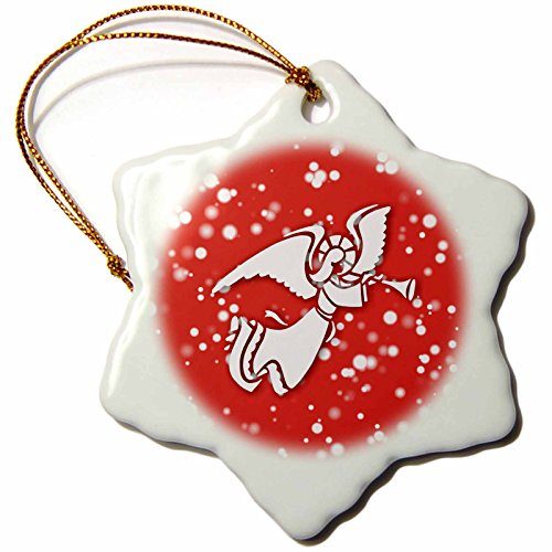 on White Christmas Designs - White Christmas Design- Angel with trumpet in Red and White - 3 inch Snowflake Porcelain Ornament (orn_251841_1) ()