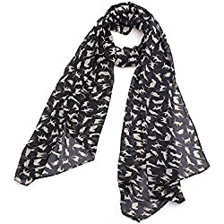 Graffiti Cat Kitten Print Scarf Wraps Chiffon Silk Scarves Black Color Warm Wrap Shawl Women (Black)