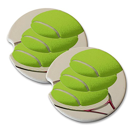 (Tennis Action - Car Cup Holder Natural Stone Drink Coaster Set)