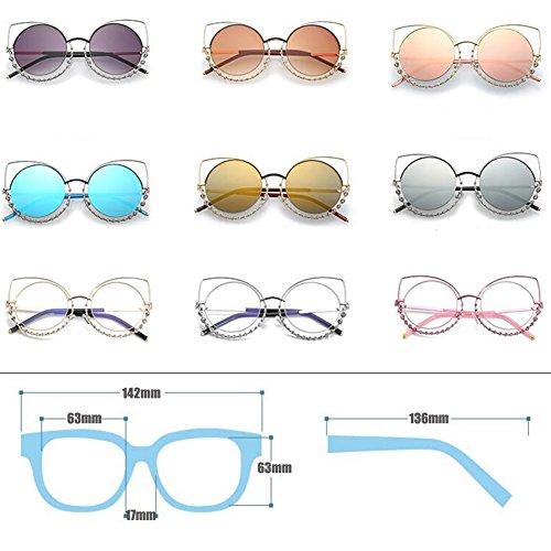 en lunettes soleil plat Inlefen les métal Eye lunettes lentilles de Mode femmes Rose Cat pour cadre miroir de rond xRXwXg8q