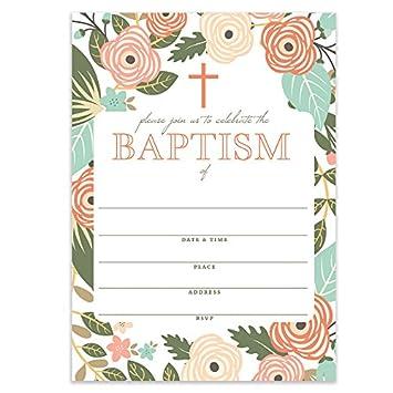 Amazon.com: Whimsical bautizo invitaciones con sobres ...