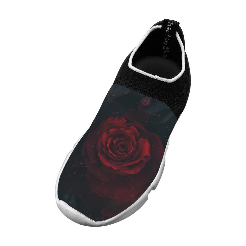 Sports Flywire Weaving Sneakers For Unisex Kid,Print Rose Nature,