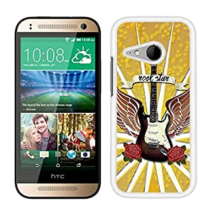 Funda carcasa para HTC One Mini 2 diseño guitarra rock star borde blanco