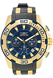 Invicta Men's Pro Diver Gold-Tone Polyurethane Band Steel Case Swiss Quartz Blue Dial Analog Watch 22341