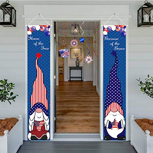 LAUJOY 4th of July Decoration Outdoor - Home of The Free&Because of The Brave Porch Banner American Patriotic Gnome Outdoor Decor for Independence Day, Memorial Day, Party Yard Gate 2Pcs