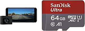 Garmin Dash Cam 56, Wide 140-Degree Field of View in 1440P HD, Very Compact with Automatic Incident Detection and Recording & SanDisk 64GB Ultra microSDXC UHS-I Memory Card with Adapter - 100MB/s