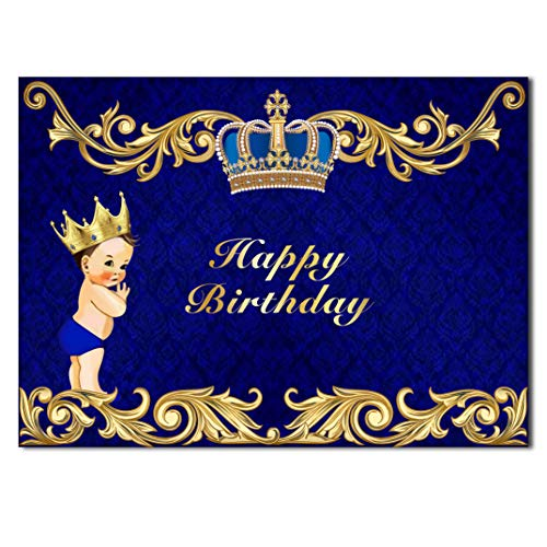 HUAYI Backdrop Curtain Happy Birthday Blue Royal Theme Little Prince Crown Birthday Party Photobooth Vinyl Banner GW-933]()
