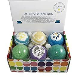 6 Relaxing BUBBLE Bath Bombs Set - Large Lush Spa Fizzy Kit, Best Gift Idea for Women, Moms, Teens, Girls - Homemade by Moms in the USA - Two Sisters Spa - Lavender, Vanilla, Eucalyptus
