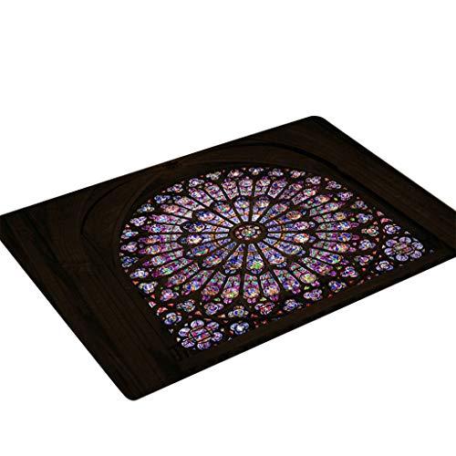 Cathy Clara Notre Dame de Paris Pattern Square Area Rug Fleece Kitchen Bathroom 60X180CM ()