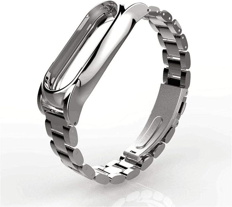 JiaMeng amazfit Protector para xiaomi Mi Band 2, Pulsera de Lujo de Acero Inoxidable Correa de muñeca smartwatch