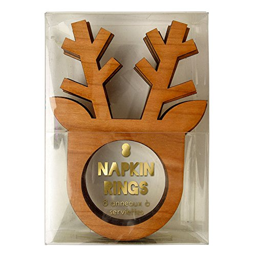 Christmas @ Meri Meri Pack Of 8 Wooden Reindeer Christmas Nakpin Rings