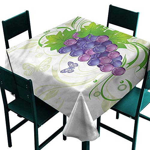 DONEECKL Easy Care Tablecloth Vine Water Droplets Butterflies for Kitchen Dinning Tabletop Decoration W70 xL70 ()