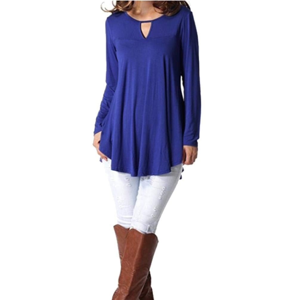Amazon.com: Sunhusing Womens Round Neck Openwork Long Sleeve Solid Color Flowy Pleated Top Shirts: Clothing