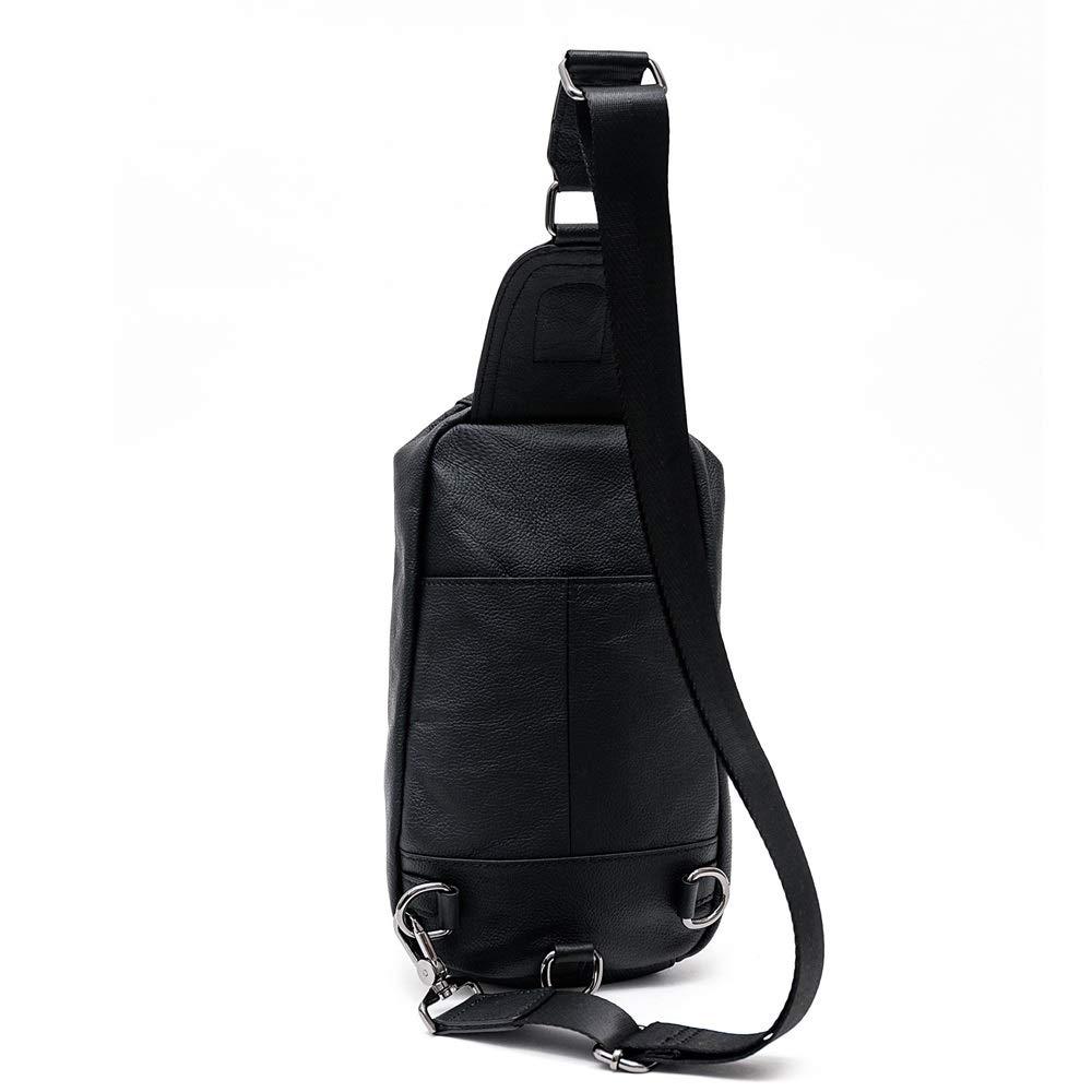 Color : Gray, Size : M MUMUWU Mens Leather Chest Bag Shoulder Messenger Bag Sports Casual Leather Fashion Computer Chest Bag