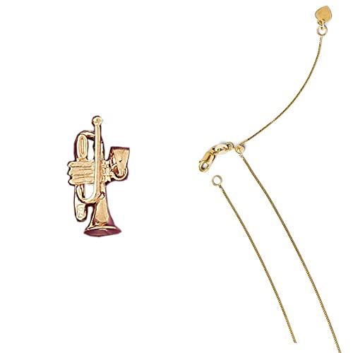 14K Yellow Gold 3-D Trumpet Pendant on an Adjustable 14K Yellow Gold Chain Necklace