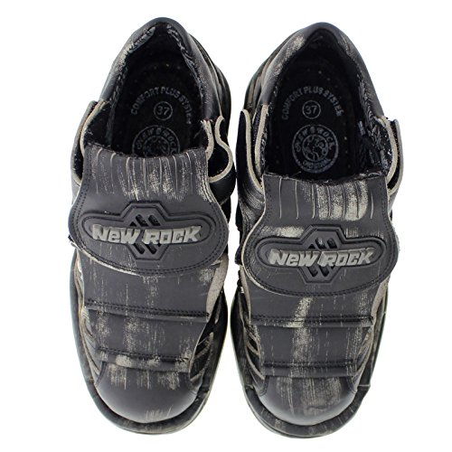 New Rock Womens M1075 C23 Turbo Leather Shoes Black