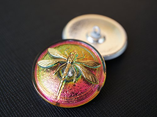 Glass Gold Buttons - Hand Made Art Czech Glass Button, Green-Pink Vitrail - Gold Dragonfly, Size 14'', 31.5mm 1pc
