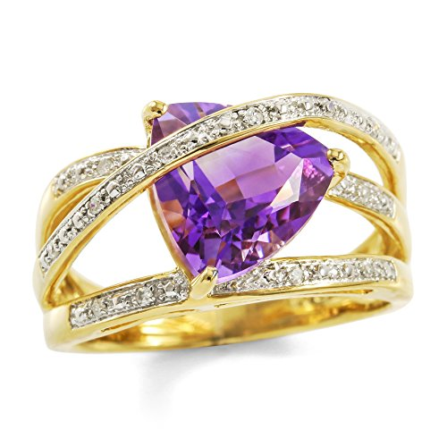 Glamouresq Sterling Silver 14k Yellow Gold Plated Trilliant Cut Genuine Amethyst & Genuine Diamond Women's Ring, Size 7
