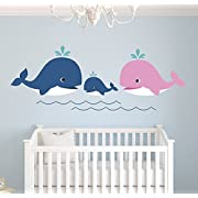 Whale Family Nautical Mom Dad and Baby Wall Decal - Nursery Wall Decals - Nautical Wall Decals - Whale Family Decor Vinyl Sticker (50  x 18 , Girl Baby Whale)