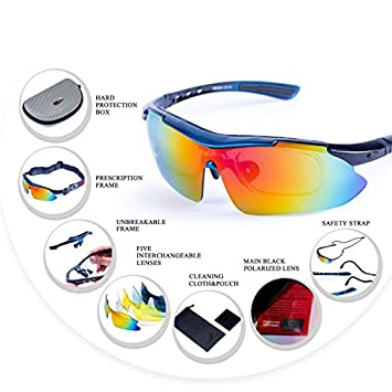 f9f498e86e Buy JR Gear Plastic Santorini Sports Sunglasses with 5 Set Interchangeable  Lenses with Prescription Frame for Cycling Trekking (Multicolour) Online at  Low ...