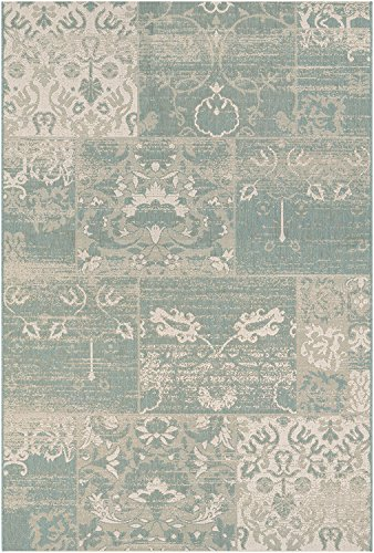 picture of Couristan Afuera Country Cottage Runner Rug, 2-Feet 2-Inch by 11-Feet 9-Inch, Sea Mist/Ivory