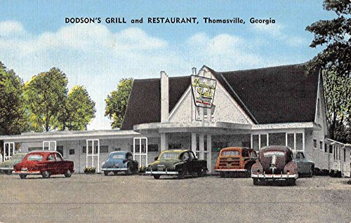 thomasville-georgia-dodsons-grill-street-view-antique-postcard-k48205