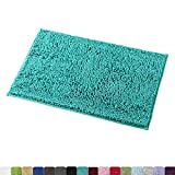 MAYSHINE Non-Slip Bathroom Rug Shag Shower Mat Machine-Washable Bath Mats with Water Absorbent Soft Microfibers, 20' W x 32' L, Turquoise