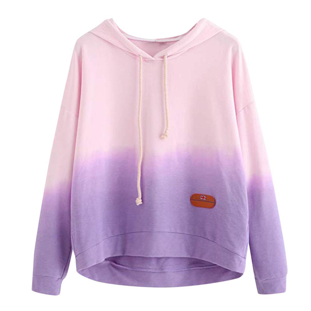 Wobuoke Women's Hoodie Gradient Printed Patchwork Sweatshirt Long Sleeve Casual Fashion Pullover Tops Blouse