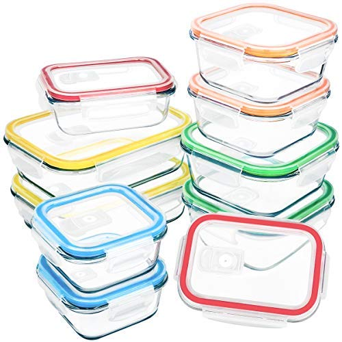 [10 Packs]Glass Food Storage Container with Lids,MCIRCO Airtight Glass Lunch Containers,Glass Meal Prep Container