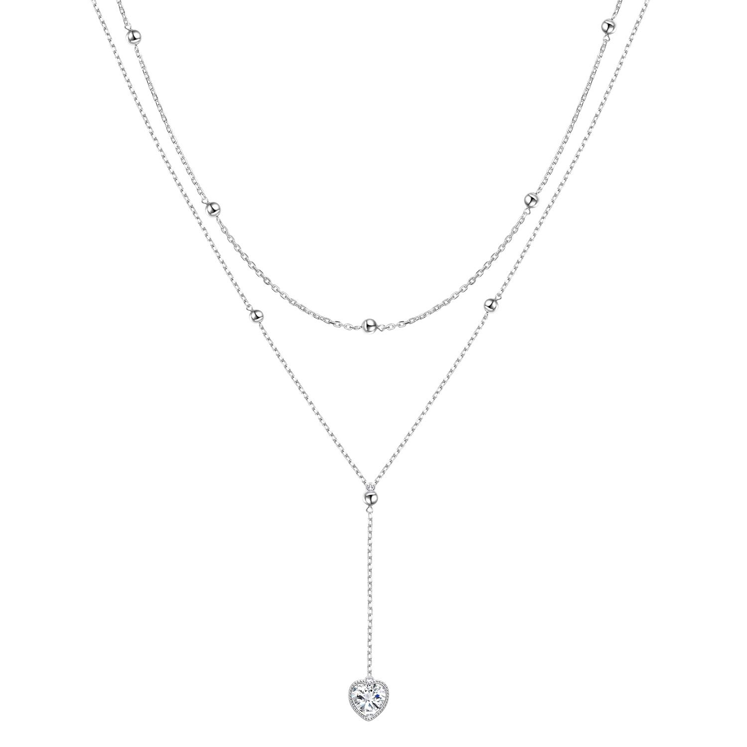 FLYOW Layered Necklace S925 Sterling Silver Teardrop Double Choker Y Lariat Necklace Gifts for Women