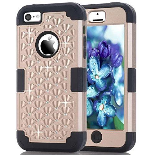 IPhone 5C hülle,Lantier [weicher harter Tough Case] ??Designer Kristallbling Hybrid Rüstungs Kasten Abdeckung für Apple Iphone 5C Gold + Schwarz