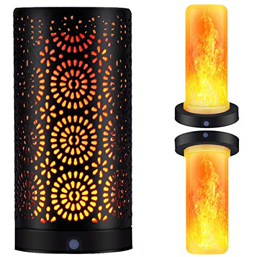 Magnetic LED Flame Effect Light Table Lamp USB Rechargeable Upside Down Fire Stimulated Desk Light Portable Vintage Decoration Light Antique Lantern for Christmas Bar Hotel Restaurants Decorations by ENJOY PET